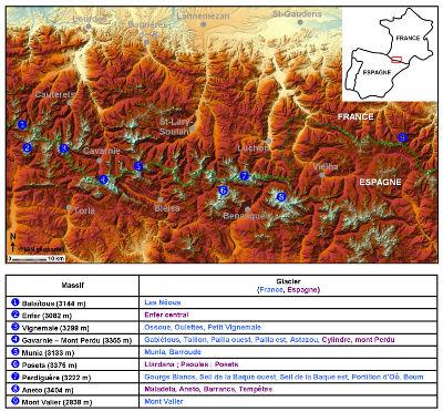 Carte de localisation des glaciers des Pyrénées